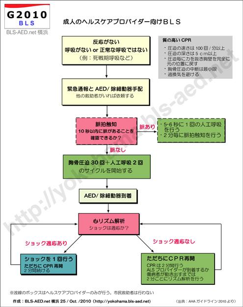 AHA心肺蘇生法ガイドライン2010のBLSの流れ:アルゴリズム
