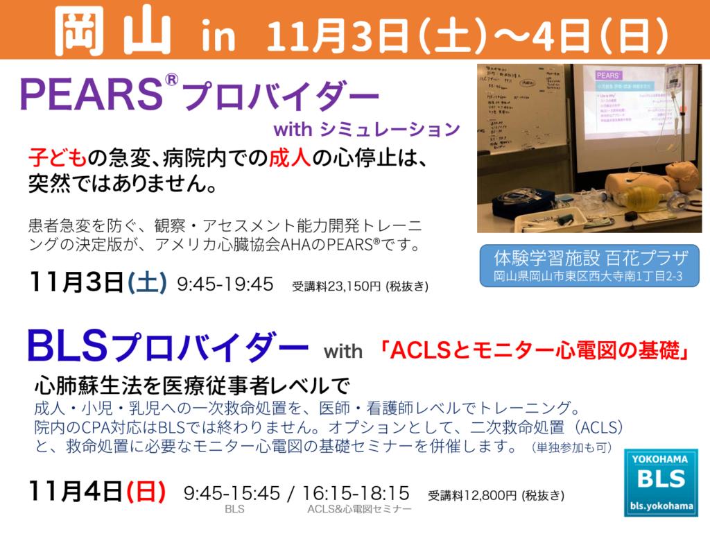 AHA-PEARS、BLSプロバイダーコース、ACLSとモニター心電図の基礎セミナーを岡山県岡山市内で受講できます。広島,兵庫,香川,中国・四国の皆さんも。