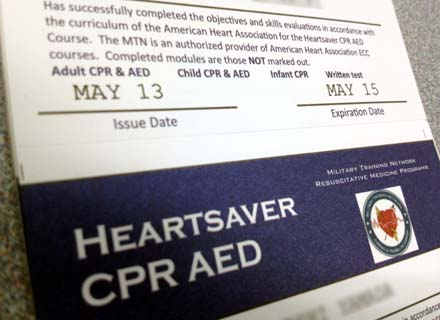 AHA military Training NetworkのハートセイバーCPR AEDコース修了カード