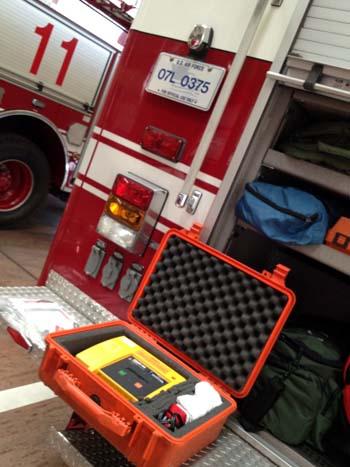 在日アメリカ空軍横田基地内レスキュー隊の装備品AED