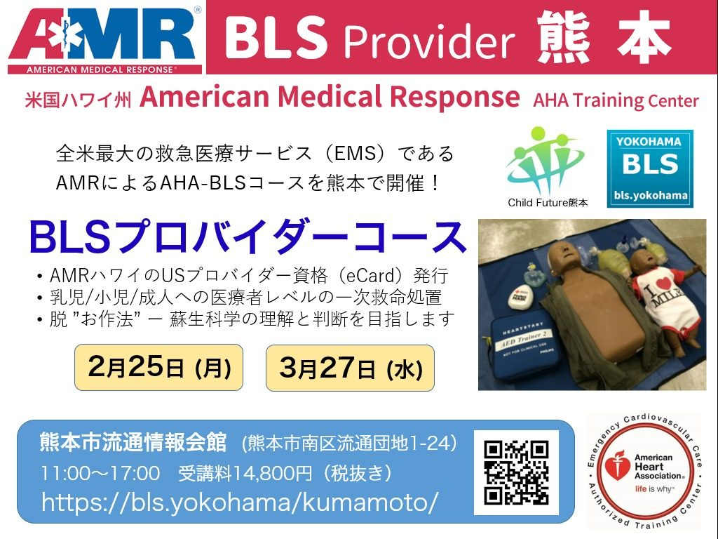 熊本県熊本市でBLSプロバイダーコースを出張開催。熊本でハワイのAHA-BLSコースを受講できます