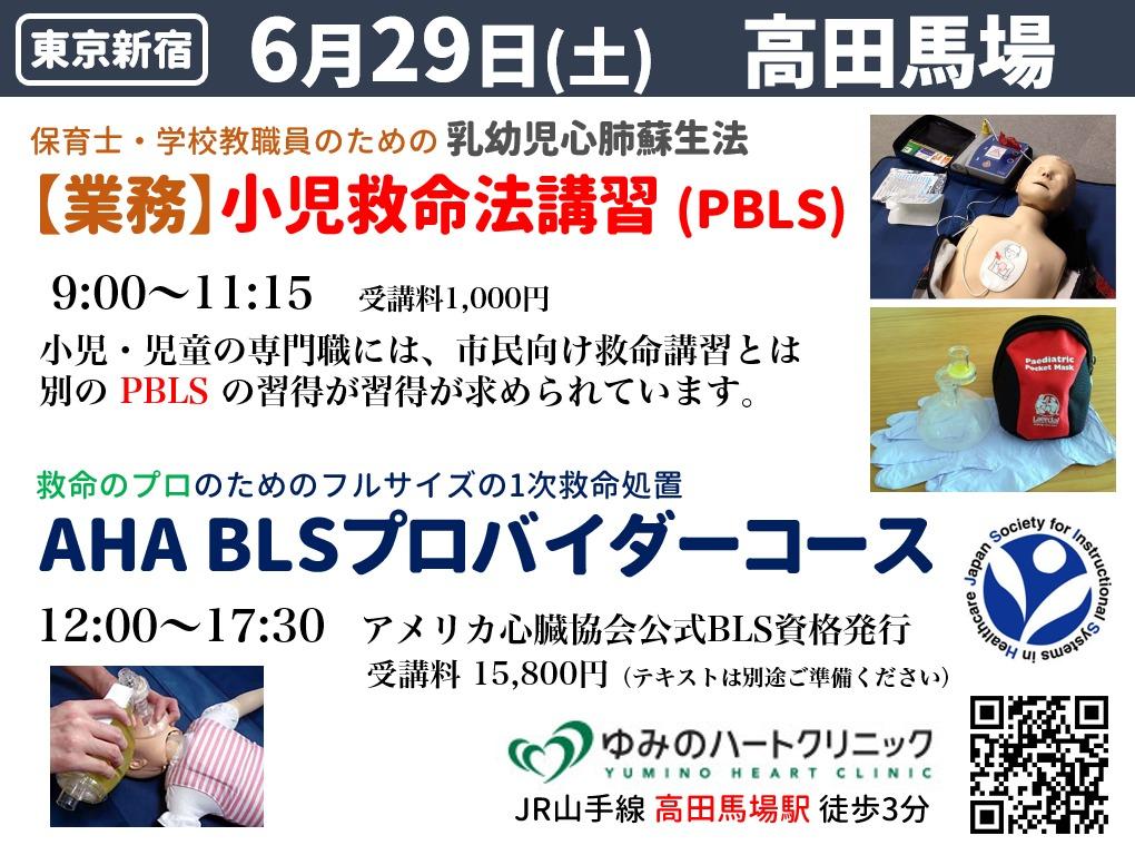東京新宿AHA-BLSプロバイダーコースと保育士・小学校教職員向け小児救命法研修