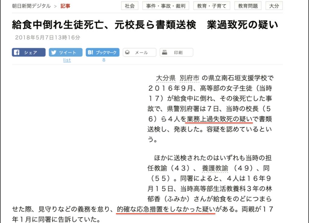給食中倒れ生徒死亡、元校長ら書類送検 業過致死の疑い:朝日新聞記事